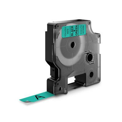 DYMO D1 Lettertape 45019 Zwart op Groen 12mm (Huismerk)