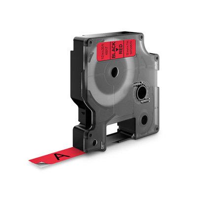 DYMO D1 Lettertape 45017 Zwart op Rood 12mm (Huismerk)