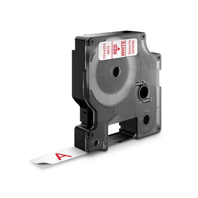 DYMO D1 Lettertape 45015 Rood op Wit 12mm (Huismerk)