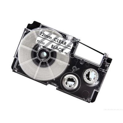 Casio XR-12X Tape Zwart op Transparant 12mm (Huismerk)