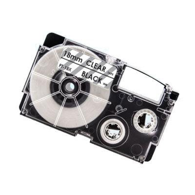 Casio XR-18X Tape Zwart op Transparant 18mm (Huismerk)