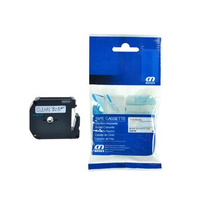 Brother M-K121 Lettertape Zwart op Transparant 9mm (Huismerk)