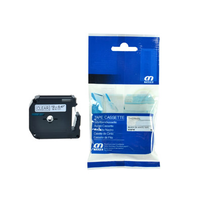 Brother M-K131 Lettertape Zwart op Transparant 12mm (Huismerk)