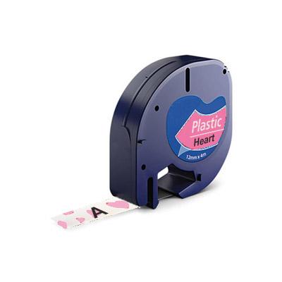 DYMO LetraTag 91208 Lettertape Zwart op Wit Met Roze Hartjes 12mm (Huismerk)