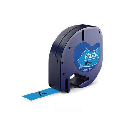 DYMO LetraTag 91205 Labeltape Zwart op Blauw 12mm (Huismerk)