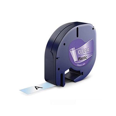 DYMO LetraTag 12267 Labeltape Zwart op Transparant 12mm (Huismerk)