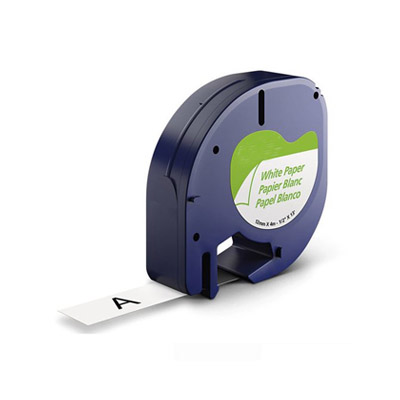 DYMO LetraTag 91200 Labeltape Papier Zwart op Wit 12mm (Huismerk)