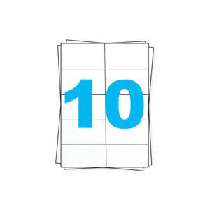 Huismerk A4 stickervellen, 10 per vel, wit, permanent, 105mm x 57mm 100 sheets