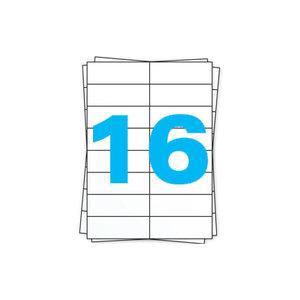 Huismerk A4 stickervellen, 16 per vel, wit, permanent, 105mm x 37mm 100 sheets